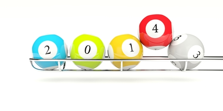 2014 lottery balls isolated on white photo