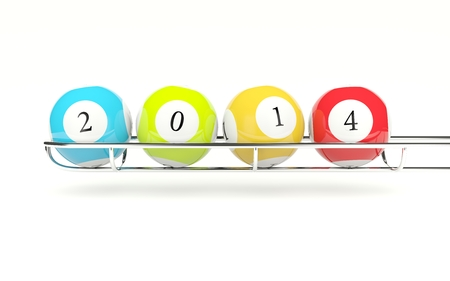 2014 lottery balls isolated on white Stock Photo