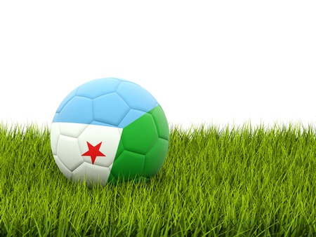 Football with flag of djibouti on green grass photo