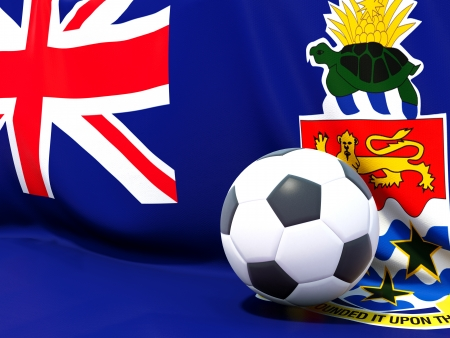 Flag of cayman islands with football in front of it photo