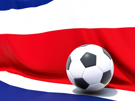 Flag of costa rica with football in front of it photo