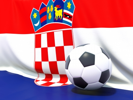 Flag of croatia with football in front of it photo