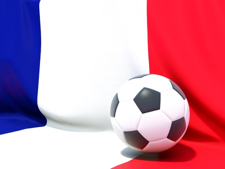 worldcup: Flag of france with football in front of it