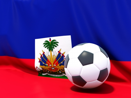 Flag of haiti with football in front of it photo