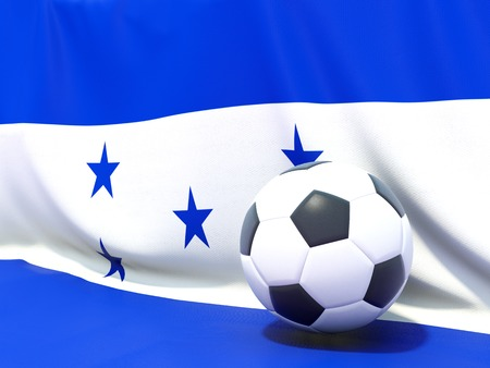 honduras: Flag of honduras with football in front of it Stock Photo