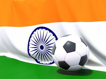 Flag of india with football in front of it photo