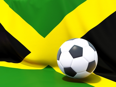 Flag of jamaica with football in front of it photo