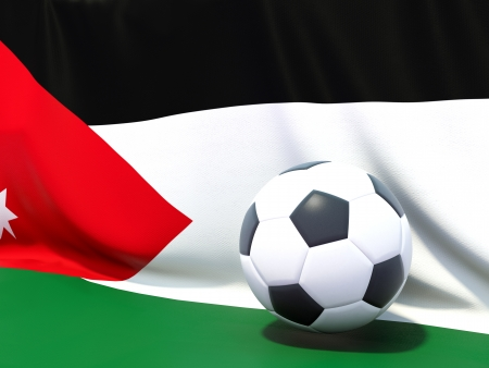 Flag of jordan with football in front of it photo