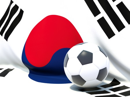 worldcup: Flag of korea south with football in front of it Stock Photo