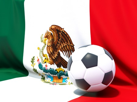 worldcup: Flag of mexico with football in front of it