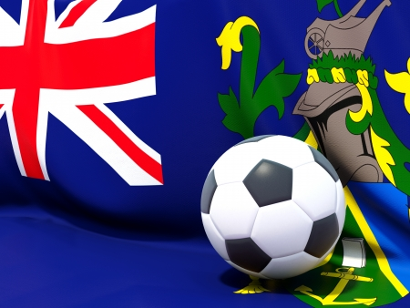 pitcairn: Flag of pitcairn islands with football in front of it