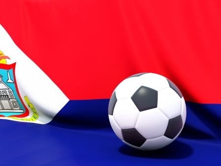 sint: Flag of sint maarten with football in front of it