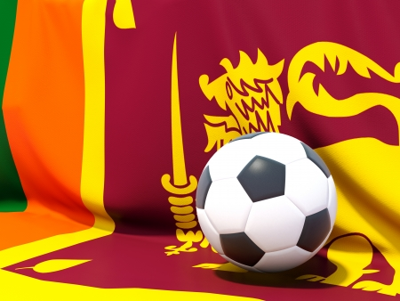 worldcup: Flag of sri lanka with football in front of it