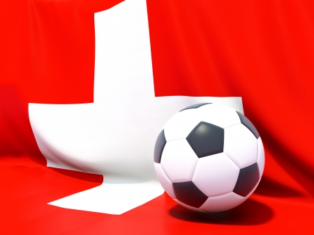 worldcup: Flag of switzerland with football in front of it