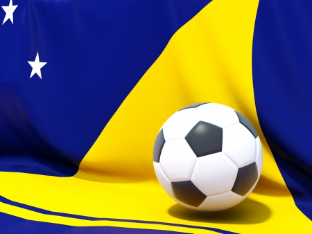tokelau: Flag of tokelau with football in front of it