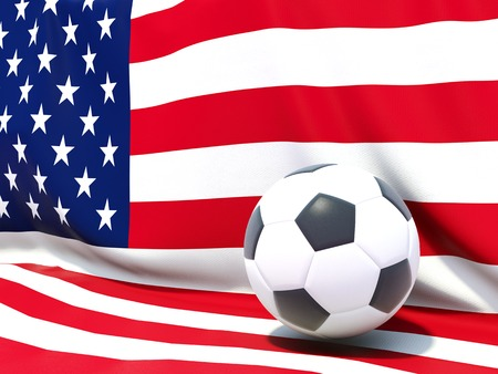 worldcup: Flag of united states of america with football in front of it