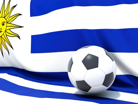 Flag of uruguay with football in front of it photo