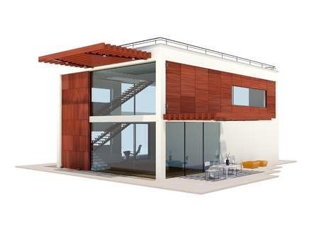 Modern house with wood elements isolated on white Stock Photo