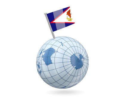 samoa: Blue globe with flag of american samoa isolated on white