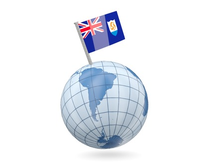 anguilla: Blue globe with flag of anguilla isolated on white Stock Photo