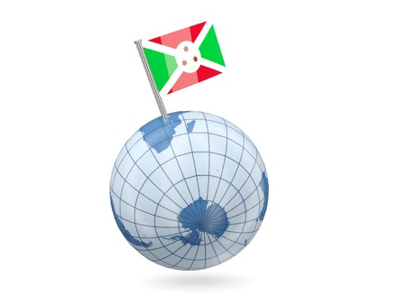 Blue globe with flag of burundi isolated on white photo