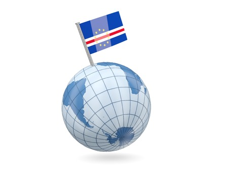 cape verde flag: Blue globe with flag of cape verde isolated on white