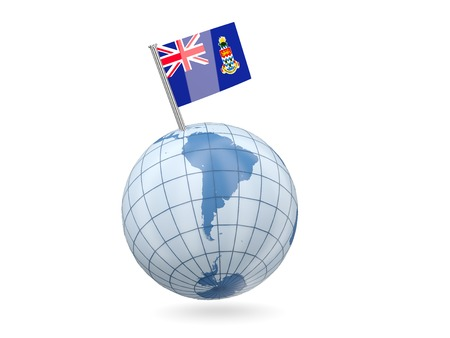 cayman islands: Blue globe with flag of cayman islands isolated on white
