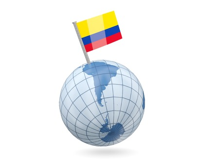 Blue globe with flag of colombia isolated on white photo