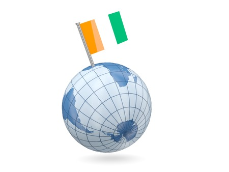 cote d ivoire: Blue globe with flag of cote d Ivoire isolated on white