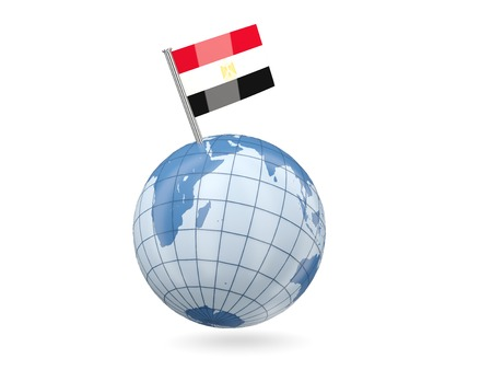 Blue globe with flag of egypt isolated on white photo