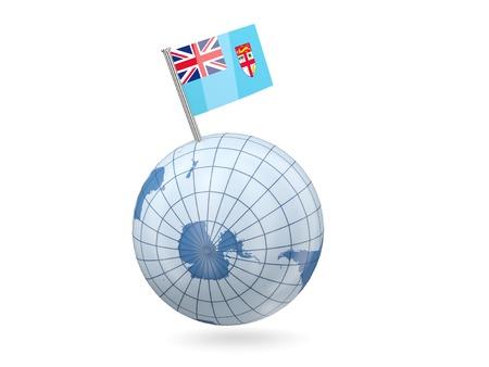 fiji: Blue globe with flag of fiji isolated on white