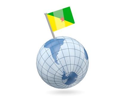 Blue globe with flag of french guiana isolated on white photo