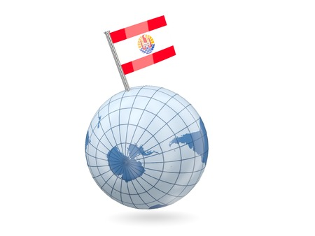 Blue globe with flag of french polynesia isolated on white photo
