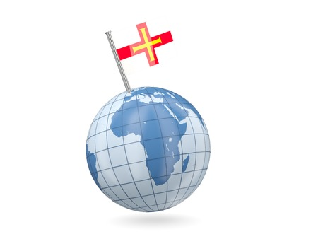 Blue globe with flag of guernsey isolated on white photo