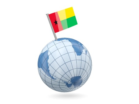 guinea bissau: Blue globe with flag of guinea bissau isolated on white Stock Photo