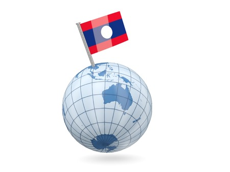 Blue globe with flag of laos isolated on white photo