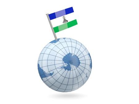 LESOTHO: Blue globe with flag of lesotho isolated on white Stock Photo