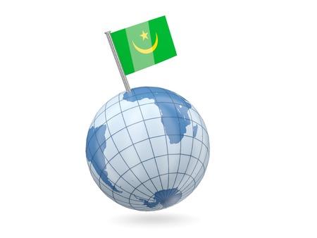 Blue globe with flag of mauritania isolated on white photo
