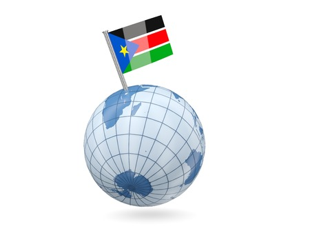 Blue globe with flag of south sudan isolated on white photo