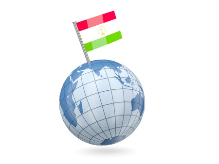 Blue globe with flag of tajikistan isolated on white photo
