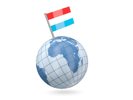 Blue globe with flag of luxembourg isolated on white photo