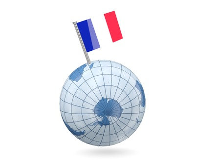 mayotte: Blue globe with flag of mayotte isolated on white Stock Photo