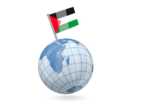 palestinian: Blue globe with flag of palestinian territory isolated on white Stock Photo
