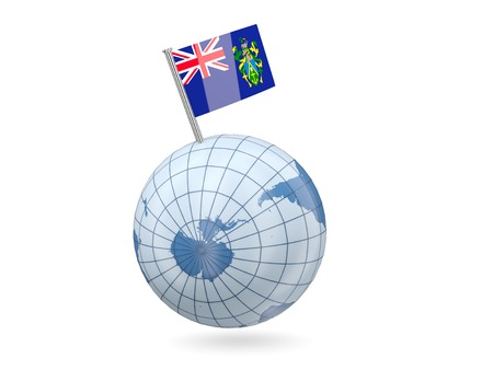 pitcairn: Blue globe with flag of pitcairn islands isolated on white