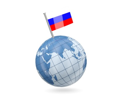 Blue globe with flag of russia isolated on white photo