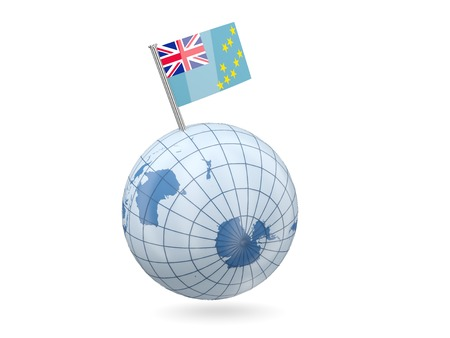 tuvalu: Blue globe with flag of tuvalu isolated on white