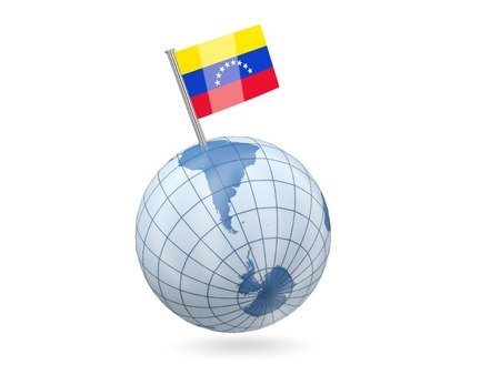 Blue globe with flag of venezuela isolated on white photo