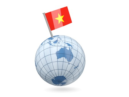 Blue globe with flag of vietnam isolated on white photo