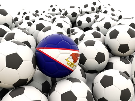 Football with flag of american samoa in front of regular balls Stock Photo