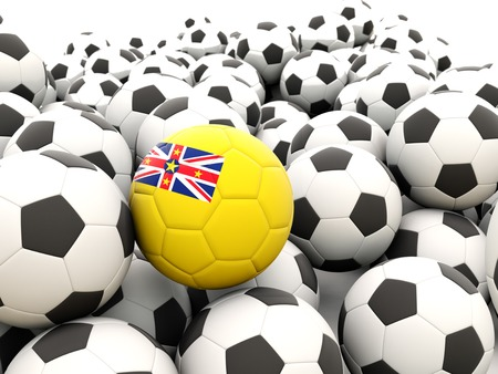 niue: Football with flag of niue in front of regular balls Stock Photo